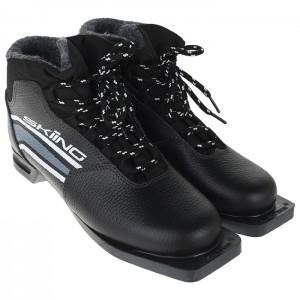 Ботинки лыжные ТРЕК Skiing НК NN75 (черный, лого серый) кожа натуральная