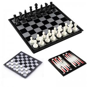 Игра 3в1 (шашки+шахматы+нарды), магнитная доска 30*30см