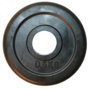 Блин для штанги обрезиненный 0.5 кг, d 26мм