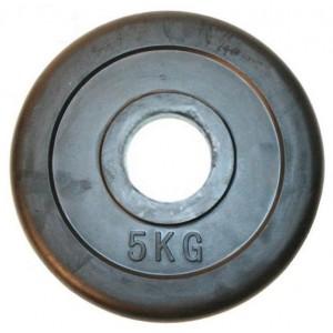 Блин для штанги обрезиненный 5 кг, d 26мм