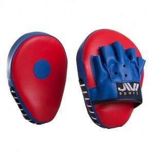 Лапы для бокса гнутые JIVIsport Е059 искусственная кожа, красно-синие