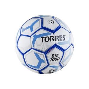 Мяч для футбола Torres BM 1000, р.5, 32П, PU, 4 подкл. слоя, ручная сшивка, бело-сине-серебристый