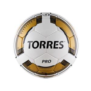Мяч для футбола TORRES Pro, р.5, 32П, PU, 4 подкл. слоя, ручная сшивка, бело-черно-золотой
