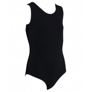 Купальник гимнастический без рукава, черный, хлопок, р.S-2XL