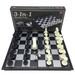 Игра 3в1 (шашки+шахматы+нарды), магнитная доска 33х33см, высота короля 5.5 см