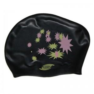 Шапочка для плавания женская для длинных волос, силикон, в сумочке