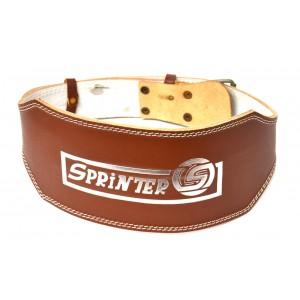 Пояс Sprinter для тяжелой атлетики  широкий, сплит-кожа, коричневый