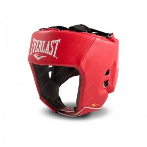 Шлем Everlast боевой, M L XL, кожа, 4-х слойный пенный наполнитель, цвет красный и синий