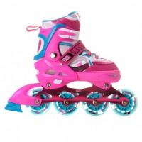 Раздвижные роликовые коньки Sonic Pink LED с подсветкой колес