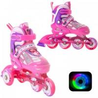Раздвижные роликовые коньки Yuppie Pink LED подсветка колес (XS (28-31))32-35)