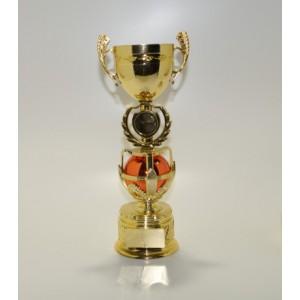 Кубок 29см - оригинальный дизайн: открытая чаша,медаль в лавровом венке, красный шар в подставке